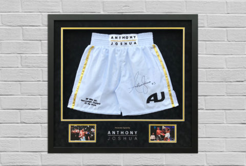 Anthony Joshua Signed Trunks Display