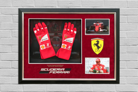 Kimi Raikkonen Signed Glove Display